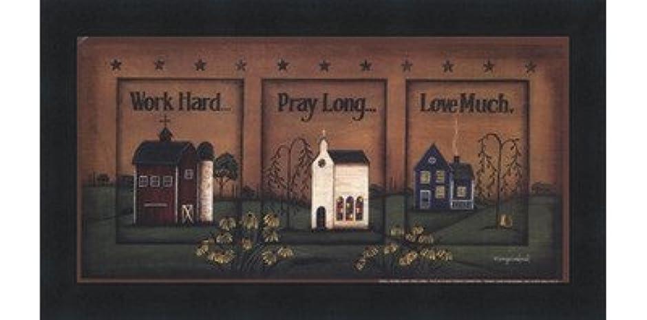 本会議野球ジョージハンブリー作業ハード、祈って、ロング、Love Much by Tonya Crawford?–?10?x 5インチ?–?アートプリントポスター LE_613747-F101-10x5