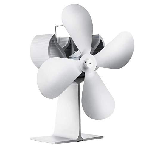 Fanático de la estufa blanco 4 cuchilla chimenea de la chimenea ventilador de calor motor de leña que quemó el ventilador amigable para el ventilador tranquilo de la distribución de calor eficiente