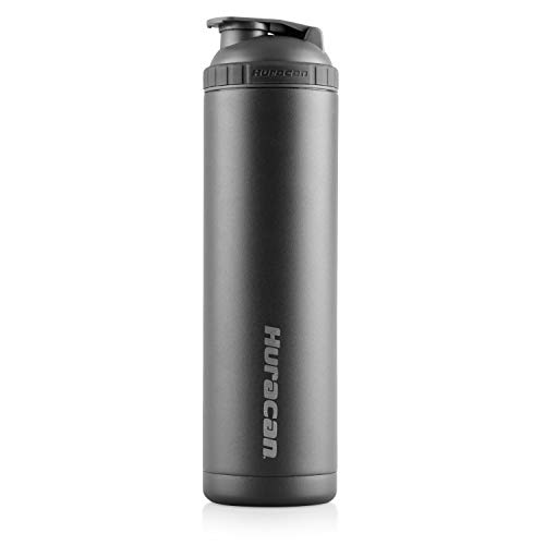 Huracan Shaker Bottle: Double Wall Vacuum Insulated Stainless Steel, Wide Mouth, Removable Mixer, Silicone Grip, BPA Free - 22oz
