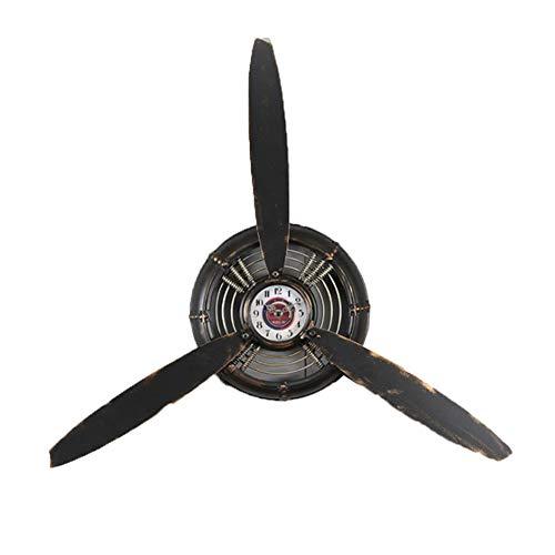 YCX Loft Industrial Wind Wanduhr Retro Flugzeug Propeller Eisen Handwerk, Uhr Exquisite Dekorationen Restaurant Bar Cafe Wand-Uhr,Schwarz