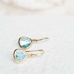 Simulated Aquamarine Drop Earrings