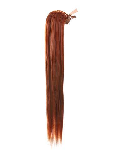 Prettyland 60cm Statikfrei lang-haar glatt Zopf Pferdeschwanz one-Piece Clip-In Haarteil Extensions orange Kupfer-Rot R01