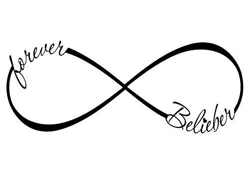 Forever Belieber Infiniti 23 X 9 Vinyl wall art decal quote music Boy band Bieber inspired entry Sticker Corinthians Calligraphy Art Decor Motivational Inspirational Decorative lettering