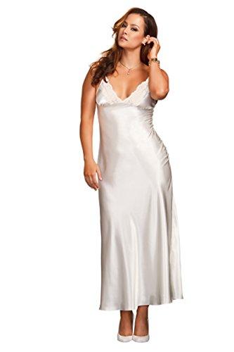 iCollection Damen-Kleid, Übergröße, lang, Spitzenbesatz, Satin - Weiß - 2X Mehr