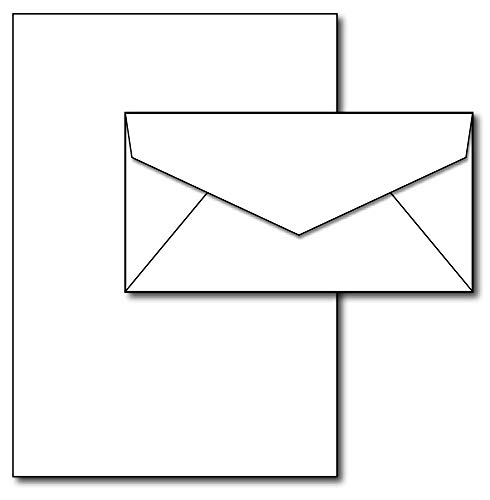Blank Letterhead Paper & Envelopes - 40 Sets - Unique Executive Size (7' x 10') Paper with Matching Envelopes - Great for Business or Personal Letters