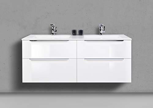 Intarbad ~ Doppelwaschtisch 140 cm Badmöbel Set Sky, mit Led Spiegelschrank, Weiß Hochglanz Lack Grau Matt Lack IB1746