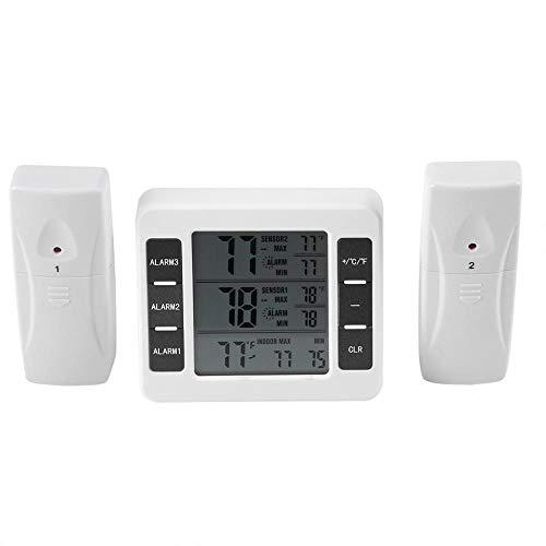 室内・室外 デジタル温度計 デジタル冷蔵庫温度計 ワイヤレス温度計 最高・最低室内室外温度記録 高・最低 室外温度アラーム機能 水槽温計 卓上スタンド マグネット付