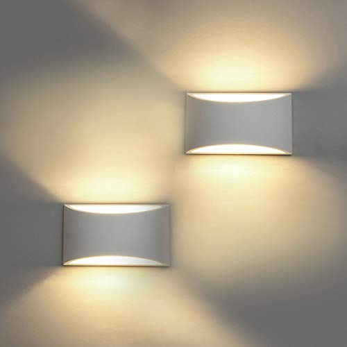Modern Wall Sconce Set of 2 LED Wall Lamp 7W Warm White 2700K Up and Down Indoor Plaster Wall Lamps 100V-240V for Living Room Bedroom Hallway Conservatory(with G9 Bulbs)