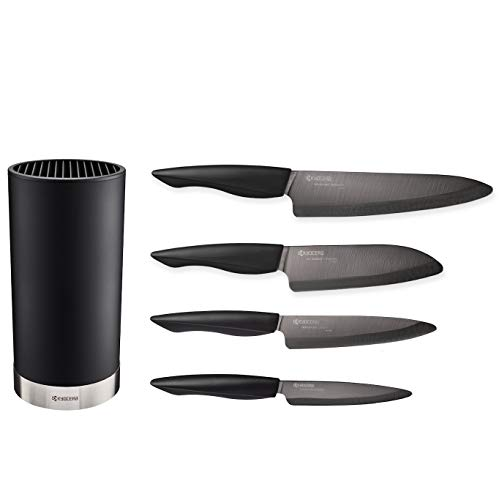 Kyocera Universal Knife Block Set Includes: Black Soft Touch Round Block and 4 Innovation Series Ceramic Knives, Z212 Black Blades