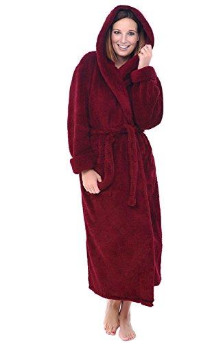 (Product) RED Women's Plush Fleece Robe with Hood, Long Warm Bathrobe, 3X 4X Burgundy (A0304BRG4X)