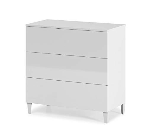 Design Vicenza Anacapri - Cassettiera con 3 cassetti, colore: Bianco lucido