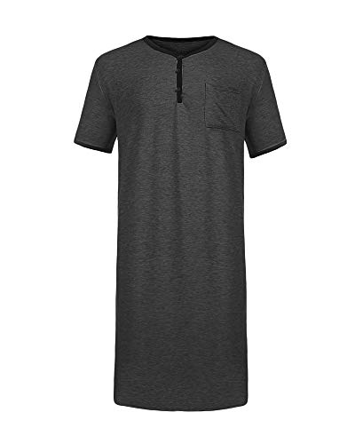 Gemijacka Herren T-Shirts Super Lange Herren Kurzarm T-Shirt Herren Baumwolle Nachthemd Sommer Einteiliger Schlafanzug T-Shirt Pyjama-B-dunkelgrau-XL