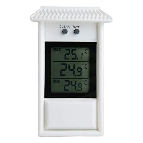 Lukame Digitales Thermometer Wasserdicht Innen- Und Außenthermometer Kühlschrankthermometer mit Lcd Display, Batteriebetrieben, Min/Max-Aufzeichnungen, ℃/℉ Schalter, Bereich -20~50℃ (Weiß)