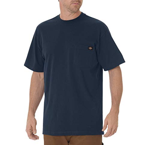 Dickie's Men's Short Sleeve Heavyweight Crew Neck Pocket T-Shirt, Dark Navy, X-Large