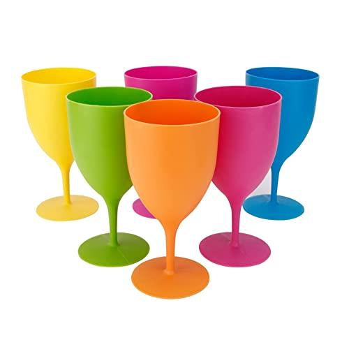 GJCrafts Vasos Colores de Plástico Copa Vino Plástico Color Sólido Mate, Copa Cóctel Ginebra Champán Vino Tinto, Copa Vino Normal Copa Champán Cóctel, Copa Esmerilada Color Copa Bebida