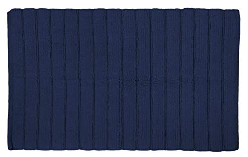 "DII Cotton Ultra Absorbent Soft Luxury Spa Ribbed Bath Mat or Rug Place in Front of Shower, Vanity, Bath Tub, Sink, and Toilet 17x24"" Navy"