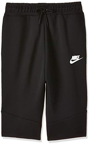 Nike Big Boys Tech Fleece Shorts Black/White (Large)