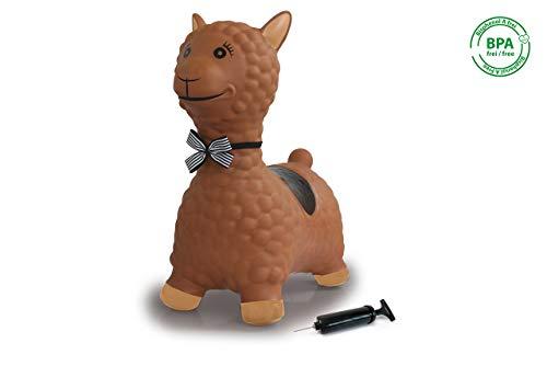 Jamara 460542 Hüpftier Lama braun mit Pumpe-bis 50 kg, fördert den Gleichgewichtssinn und die motorischen Fähigkeiten, robust und widerstandsfähig, pflegeleicht