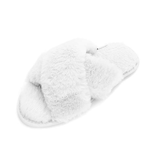 LUBOT 2021 Women's Cross Band Cozy Memory Foam Slippers Soft Plush Furry Fluffy Faux Fur Open Toe House Slippers Indoor/Outdoor White 5-6