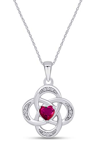 AFFY Celtic Knot Simulated Ruby Pendant Necklace in 14k White Gold Over Sterling Silver W/Chain 18'
