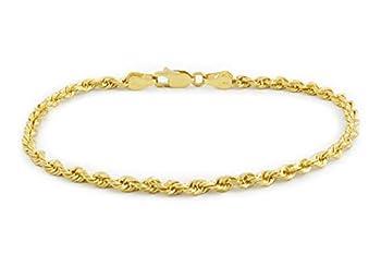 Nuragold 14k Yellow Gold 3mm Solid Rope Chain Diamond Cut Bracelet Mens Womens Lobster Lock 7  7.5  8  8.5  9