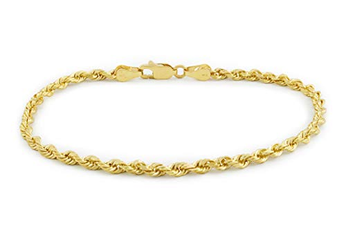 Nuragold 14k Yellow Gold 3mm Rope Chain Diamond Cut Bracelet or Anklet, Womens Mens Lobster Lock 7' 7.5' 8' 8.5' 9'
