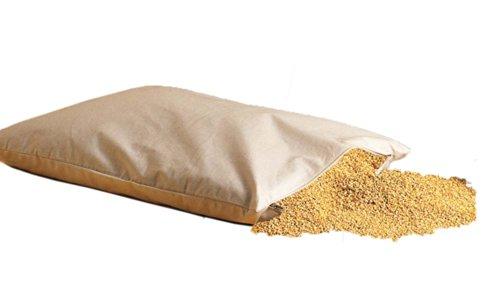 Natur Coussin de millet bio - 40 x 60 cm - Avec fermeture éclair - Noyaux de millet