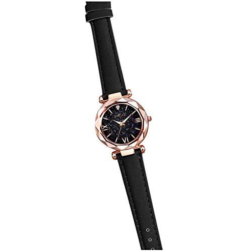 Dames Horloges,QIAN'S 2020 Unisex sterren Little Point Frosted riemhorloge bezaaid met Romeinse schaal kijk maar-23MM