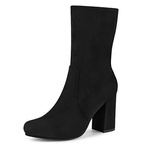 Allegra K Women's Block Heel Foldable Stretch Black Ankle Boots - 8.5 M US