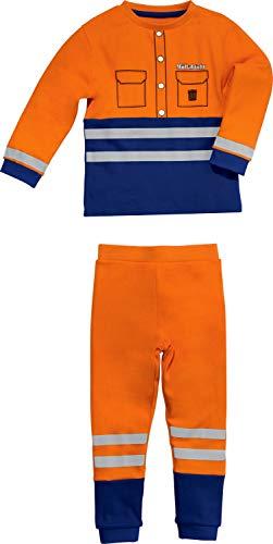 Erwin Müller Kinder Schlafanzug Junge Müllmann, Müllabfuhr, Single-Jersey orange-Marine, Größe 74/80 - mit Gummibund, Bündchen mit reflektierende Streifen, hautfreundlich und kuschelweich