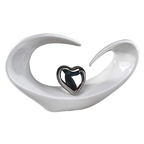 Moderne Skulptur in Form eines Herzens aus Keramik in weiß/silber 31x18cm