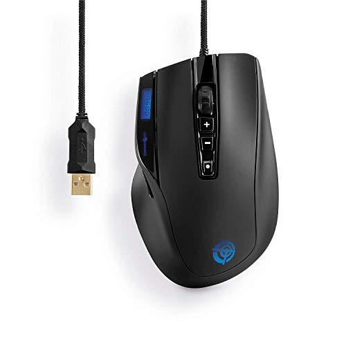 ProSquad SQ1600 USB Gaming Maus   10 Tasten, 32 Farben, 11.750 FPS, 6000 DPI, inkl. LCD Display für PC