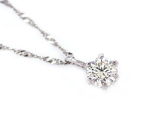 【ノーブランド品】プラチナ900ダイヤモンドネックレスペンダント0.1カラットチェーンPt850スクリュ