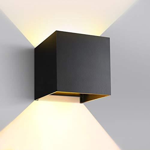 GHB 7W LED Wandleuchte Wandlampe mit einstellbar Abstrahlwinkel Design Wasserdichte IP 65 LED Wandbeleuchte 2700K Warmweiß Schwarz [Energieklasse A+]