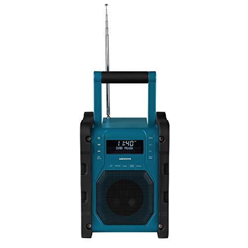 MEDION P66098 DAB+ Baustellenradio mit Bluetooth Funktion, USB, AUX, Kopfhöreranschluss, PLL UKW, RDS, integrierter Akku Blau