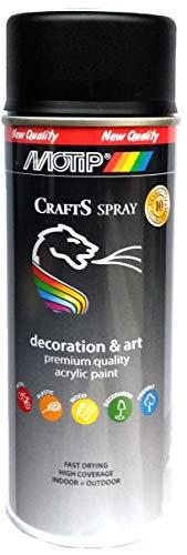 CRAFTS Lack in Schwarz Matt RAL 9005 Motip Acryl Spray Farbe Universal Lack Acryllack Sprühdose, witterungsbeständig mit UV-Schutz - 400 ml Dose