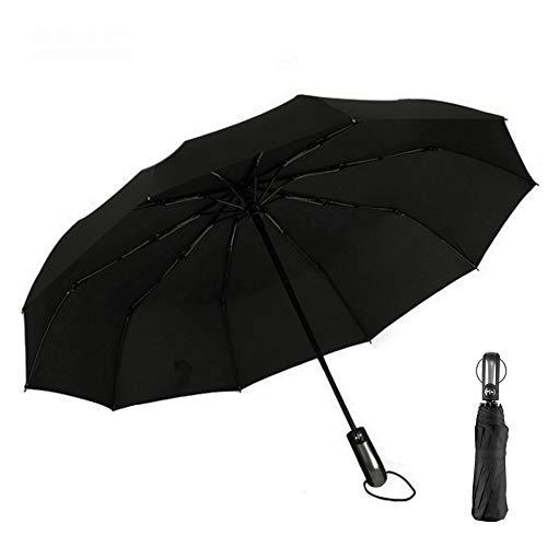 Regenschirm Sturmfest, Umbrella Taschenschirm, Kleine Leichter und kompakter Schirm mit Auf-Zu-Automatik - windsicherer Taschenschirm mit Schirm-Tasche, Teflon-Beschichtung, Schwarz