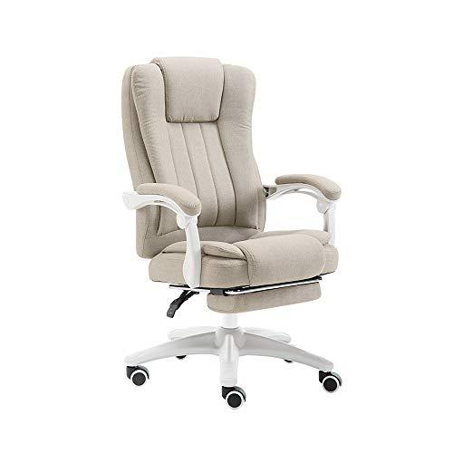 HOLPPO-Desk Stuhl Recline Racing Gaming Chair mit 74 cm hoher Rückenlehne Große Sitz und Tilt Bürostuhl Leinengewebe Schreibtisch Stühle (Color : Khaki)