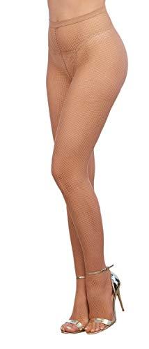 Dreamgirl Damen Netzstrumpfhose - Beige - Einheitsgröße