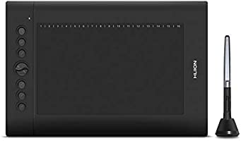 Huion H610 Pro V2 Graphic Drawing Tablet Tilt Function Battery-Free Stylus and 8192 Pen Pressure with 8 Pen Nibs