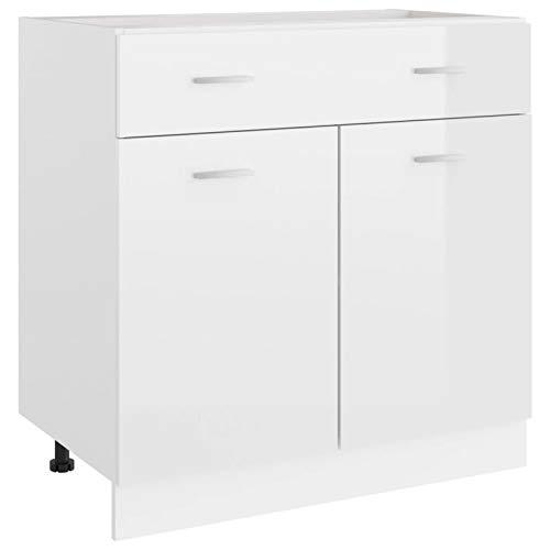 Tidyard Küchenschrank mit Schublade und 2 Regalböden Küche Schrank Küchenzeile Küchenmöbel Küchenunterschrank Unterschrank Spanplatte, Hochglanz-Weiß 80 x 46 x 81,5 cm