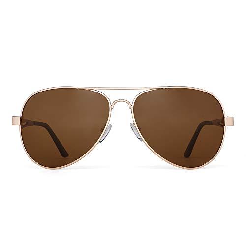JM Gafas de sol piloto polarizadas retro hombres, mujeres, montura de metal con bisagras de resorte, protección UV 400 (montura dorada/lente marrón polarizada)