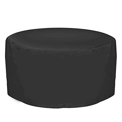 XYSQWZ Patio Table Cover Waterproof Round 73x43Inch, Patio Cover Black, Heavy Duty Material Outdoor Cover Set with Storage Bag, Anti-UV, Waterproof