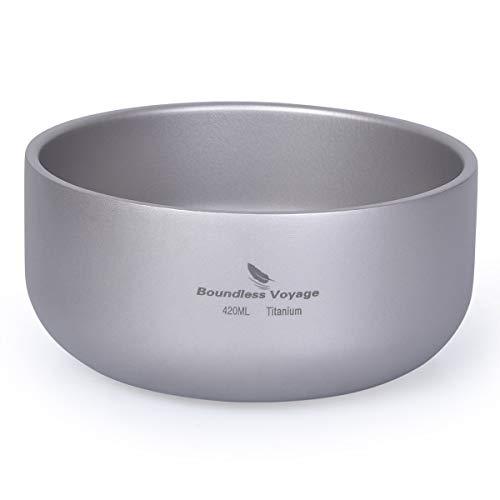 iBasingo Titan Reis Suppen Schüssel 420ml Doppelwandige Verbrühungssichere Schüssel Teetasse Leichtes Outdoor Camping Geschirr für Erwachsene Kinder für Wanderpicknick Rucksacktour Ti1084T