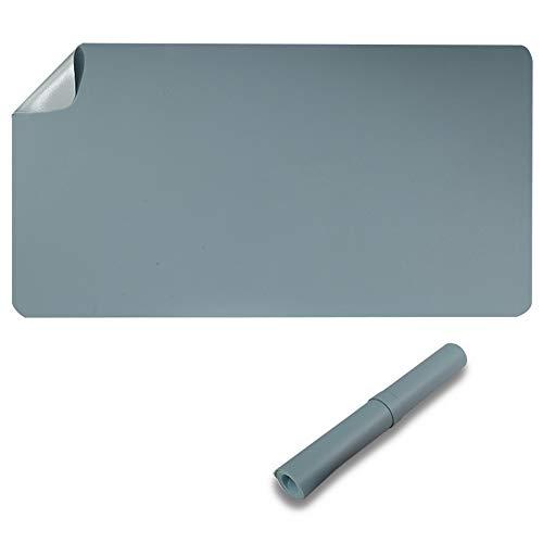 Protector de escritorio de doble cara, 60 x 35 cm, poliuretano impermeable, alfombrilla para ratón, color azul claro y gris