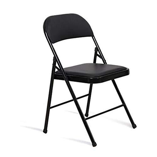 QIDI Chaise Pliante, Chaise de Salle à Manger, Chaise de conférence, Chaise d'ordinateur, Cuir, Métal, Simple Moderne Facile à Plier, Facile à Ranger au Bureau (Couleur : Noir)