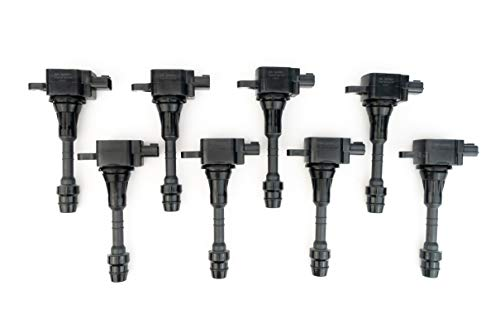 Ignition Coil Pack Set of 8 - Compatible with Nissan & Infiniti Vehicles - Armada, Titan, Pathfinder Armada and Infiniti QX56 5.6L - Year Models 2004, 2005, 2006, 2007 - Replaces E1010, 22448-7S015