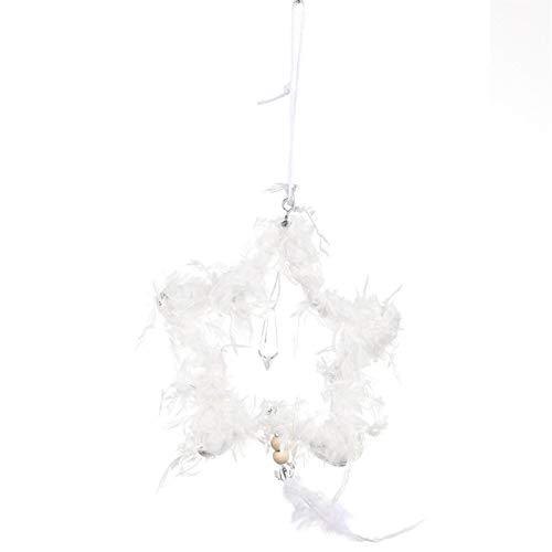 ZJF Weihnachtsbaum hängende Ornamente Weihnachts Plüsch-Feder-Anhänger fünfzackigen Stern Anhänger Startseite Weihnachtsfest DIY Dekor-Kind-Gift0 (Color : Baise)