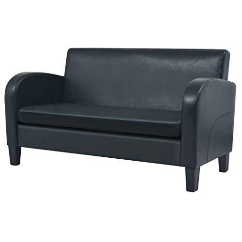 vidaXL Sofa 2 Sitzer Kunstleder Schwarz Couch Polstersofa Ledersofa Lounge