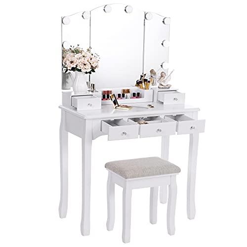 ANWBROAD Tocador con espejo plegable blanco y 10 bombillas LED mesa con 5 cajones 2 separadores para manualidades taburete acolchado organizador móvil BDT05W